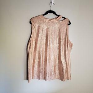 Worthington pink shiny sleeveless top